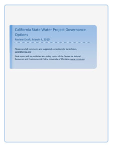 Report cover for California State Water Project Goveranance Options