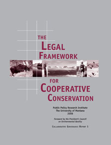 Report cover for The Legal Framework for Cooperative Conservation