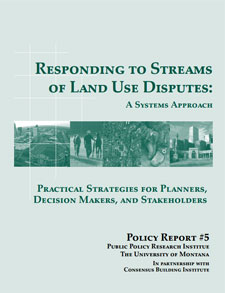 Report cover for Responding to Streams of Land Use Disputes, A Systems Approach