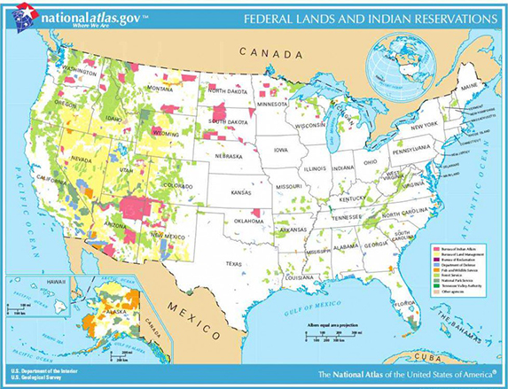 map of fedral public lands is the US